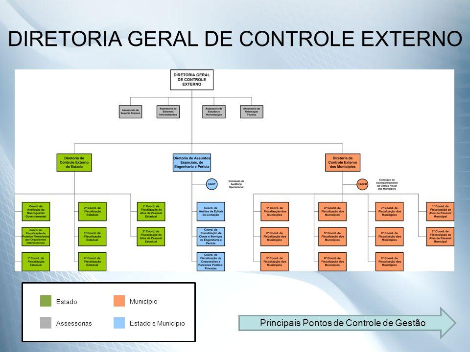 DIRETORIA GERAL DE CONTROLE EXTERNO Estado Município Estado e MunicípioAssessorias Principais Pontos de Controle de Gestão