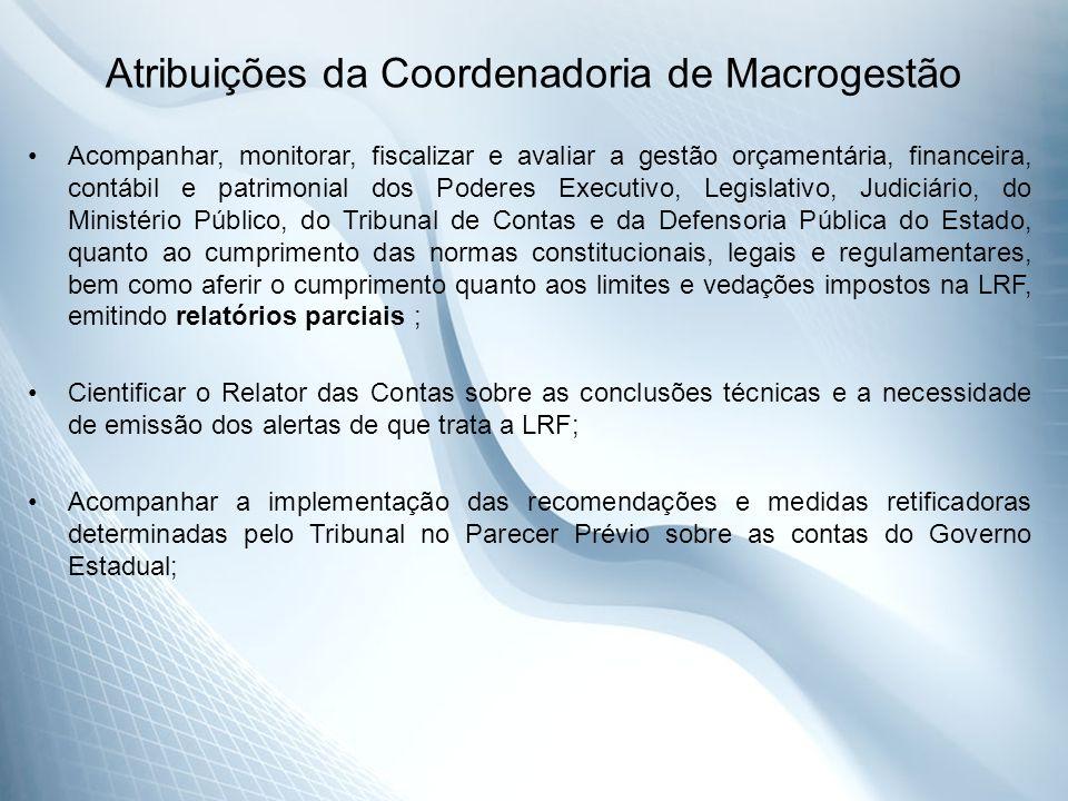 Atribuições da Coordenadoria de Macrogestão Acompanhar, monitorar, fiscalizar e avaliar a gestão orçamentária, financeira, contábil e patrimonial dos