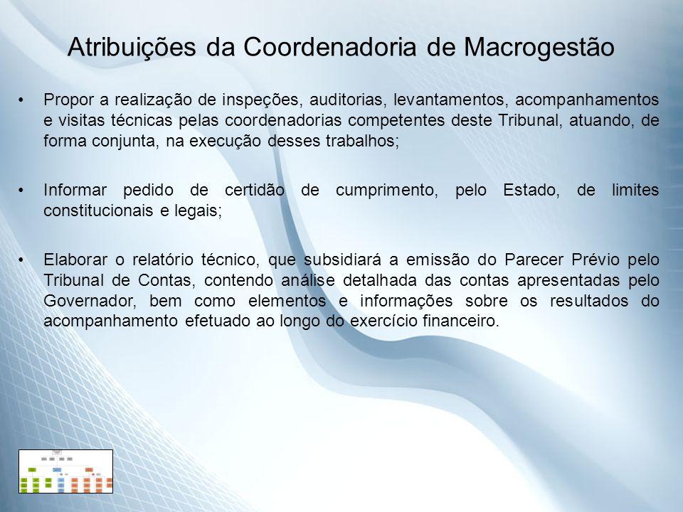 Atribuições da Coordenadoria de Macrogestão Propor a realização de inspeções, auditorias, levantamentos, acompanhamentos e visitas técnicas pelas coor