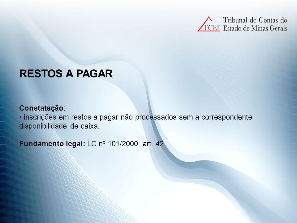 RESTOS A PAGAR Constatação: inscrições em restos a pagar não processados sem a correspondente disponibilidade de caixa. Fundamento legal: LC nº 101/20