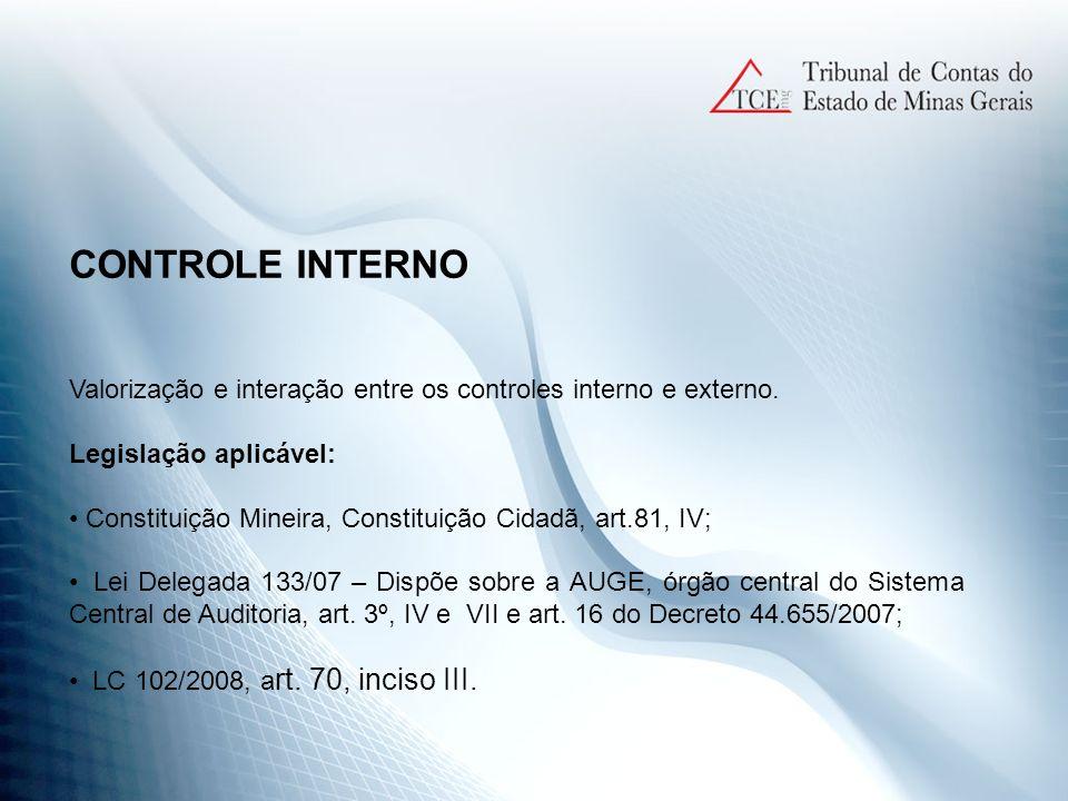CONTROLE INTERNO Valorização e interação entre os controles interno e externo. Legislação aplicável: Constituição Mineira, Constituição Cidadã, art.81