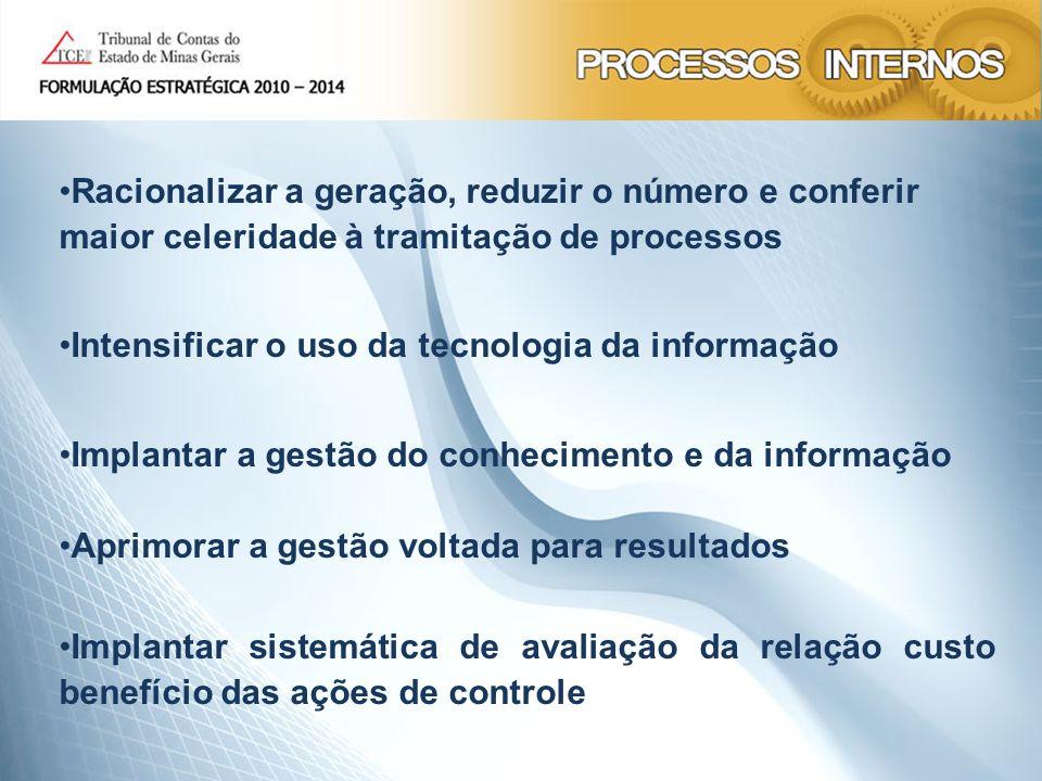 Racionalizar a geração, reduzir o número e conferir maior celeridade à tramitação de processos Intensificar o uso da tecnologia da informação Implanta
