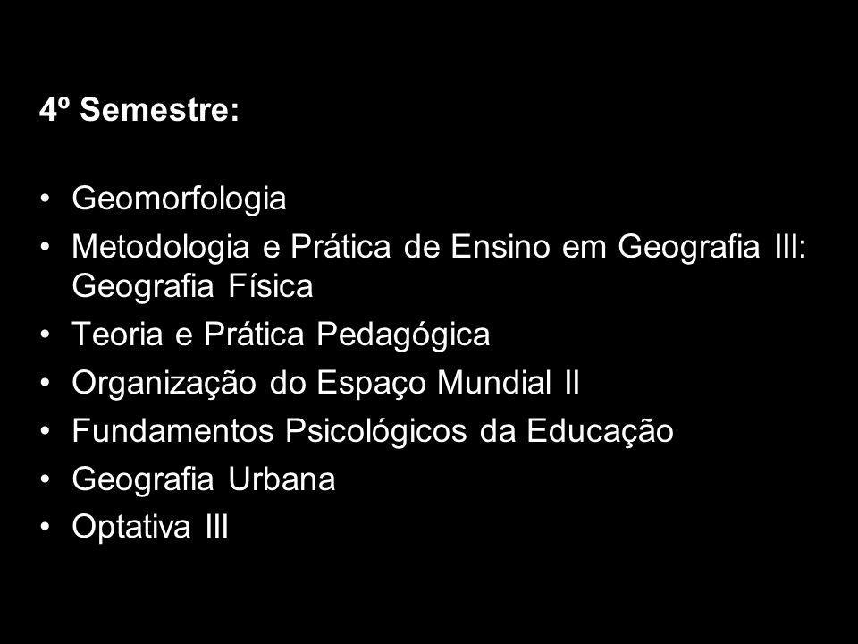 4º Semestre: Geomorfologia Metodologia e Prática de Ensino em Geografia III: Geografia Física Teoria e Prática Pedagógica Organização do Espaço Mundia
