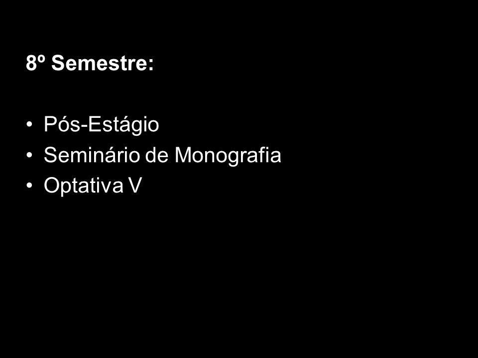 8º Semestre: Pós-Estágio Seminário de Monografia Optativa V