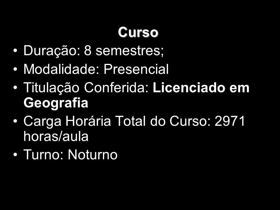 Curso Duração: 8 semestres; Modalidade: Presencial Titulação Conferida: Licenciado em Geografia Carga Horária Total do Curso: 2971 horas/aula Turno: N