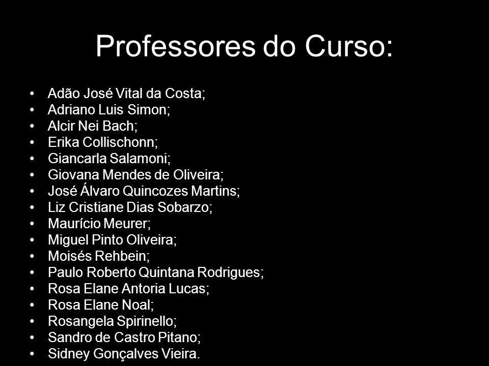 Professores do Curso: Adão José Vital da Costa; Adriano Luis Simon; Alcir Nei Bach; Erika Collischonn; Giancarla Salamoni; Giovana Mendes de Oliveira;