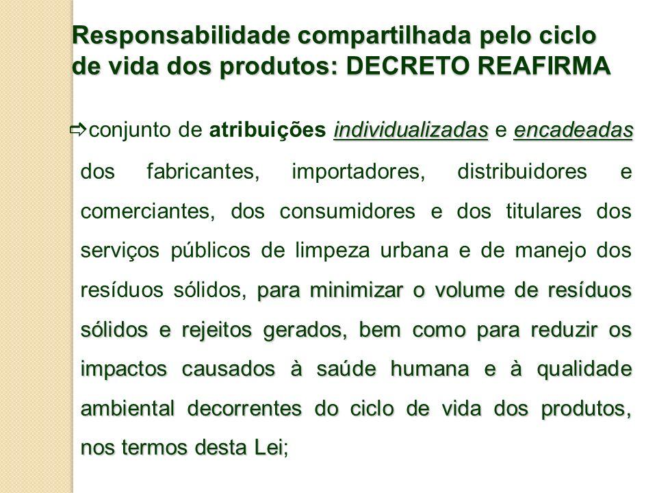 Responsabilidade compartilhada pelo ciclo de vida dos produtos: DECRETO REAFIRMA individualizadasencadeadas para minimizar o volume de resíduos sólido