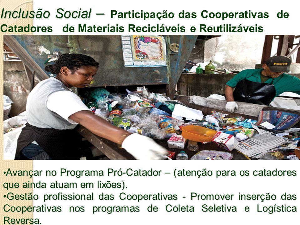 Inclusão Social – Inclusão Social – Participação das Cooperativas de Catadores de Materiais Recicláveis e Reutilizáveis Avançar no Programa Pró-Catado