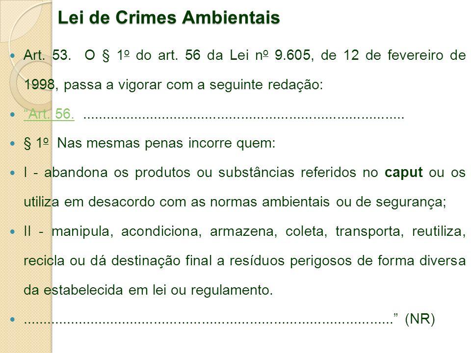 Lei de Crimes Ambientais Art. 53. O § 1 o do art. 56 da Lei n o 9.605, de 12 de fevereiro de 1998, passa a vigorar com a seguinte redação: Art. 56....