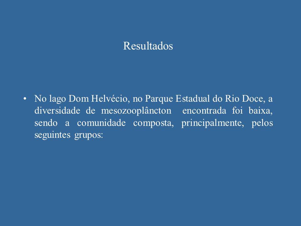 Resultados No lago Dom Helvécio, no Parque Estadual do Rio Doce, a diversidade de mesozooplâncton encontrada foi baixa, sendo a comunidade composta, p
