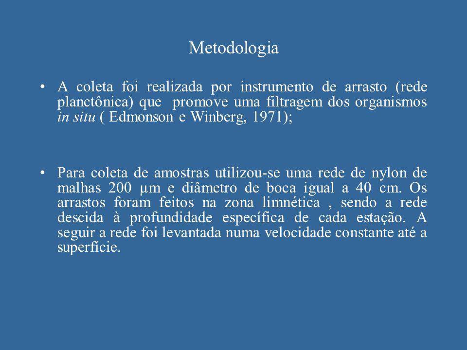 Metodologia A coleta foi realizada por instrumento de arrasto (rede planctônica) que promove uma filtragem dos organismos in situ ( Edmonson e Winberg