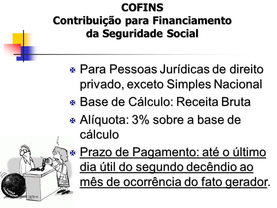 COFINS Contribuição para Financiamento da Seguridade Social X Para Pessoas Jurídicas de direito privado, exceto Simples Nacional X Base de Cálculo: Re