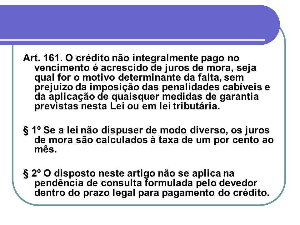 Art. 161. O crédito não integralmente pago no vencimento é acrescido de juros de mora, seja qual for o motivo determinante da falta, sem prejuízo da i