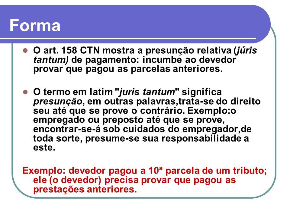 O art. 158 CTN mostra a presunção relativa (júris tantum) de pagamento: incumbe ao devedor provar que pagou as parcelas anteriores. O termo em latim