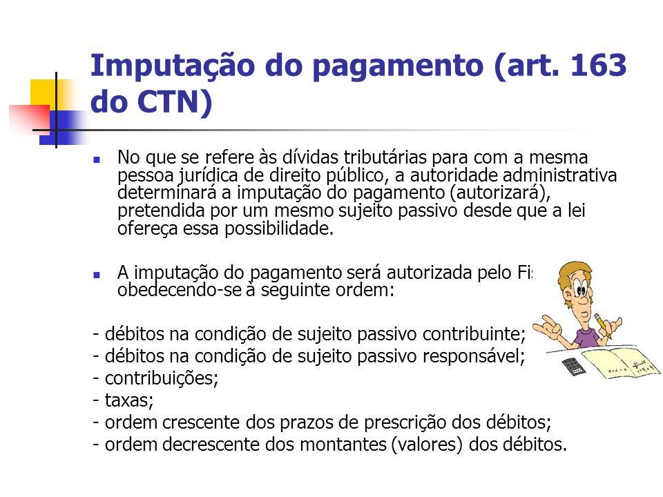 Imputação do pagamento (art. 163 do CTN) No que se refere às dívidas tributárias para com a mesma pessoa jurídica de direito público, a autoridade adm