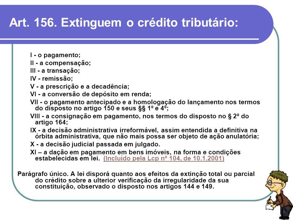 Art. 156. Extinguem o crédito tributário: I - o pagamento; II - a compensação; III - a transação; IV - remissão; V - a prescrição e a decadência; VI -