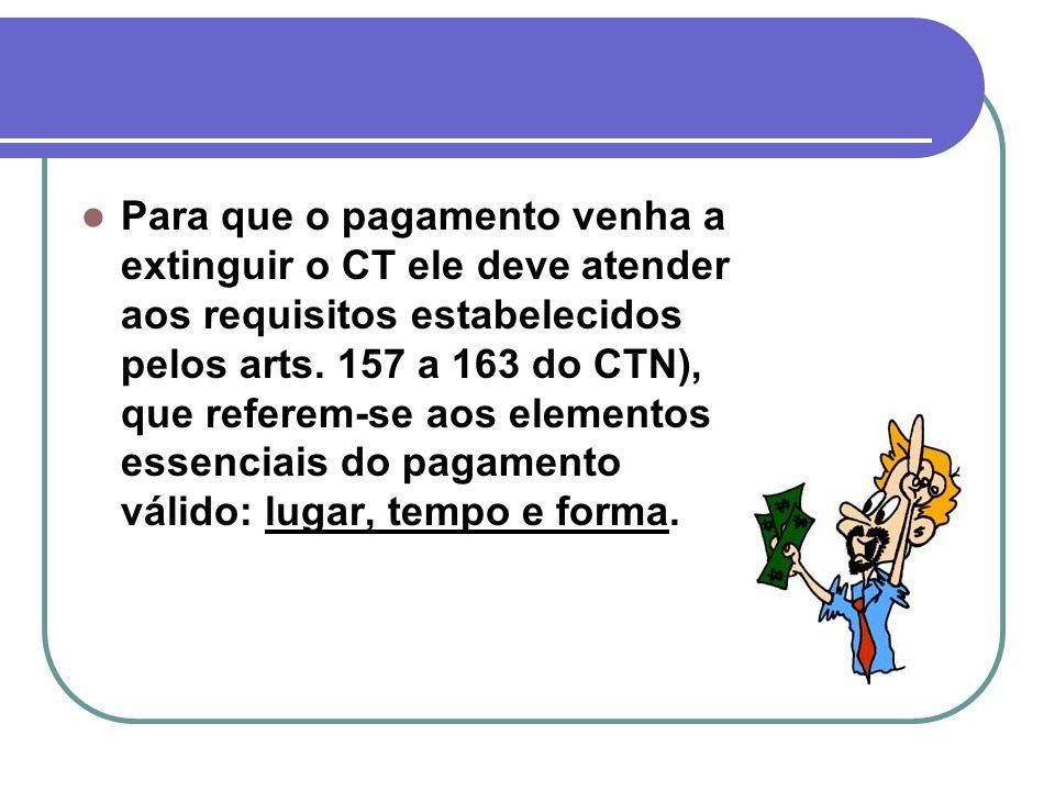 Para que o pagamento venha a extinguir o CT ele deve atender aos requisitos estabelecidos pelos arts. 157 a 163 do CTN), que referem-se aos elementos