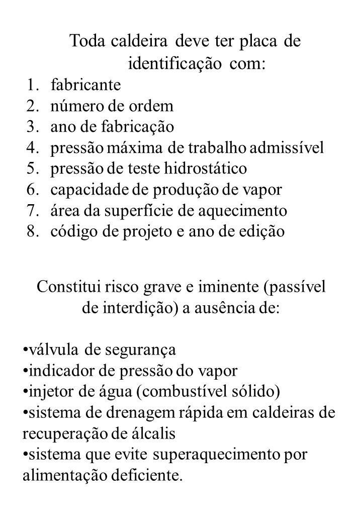 Toda caldeira deve ter placa de identificação com: 1.fabricante 2.número de ordem 3.ano de fabricação 4.pressão máxima de trabalho admissível 5.pressã