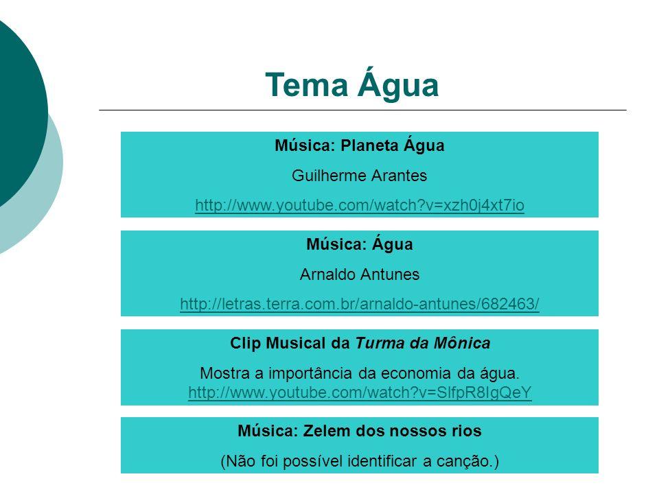 Clip Musical da Turma da Mônica Mostra a importância da economia da água. http://www.youtube.com/watch?v=SlfpR8IgQeY http://www.youtube.com/watch?v=Sl