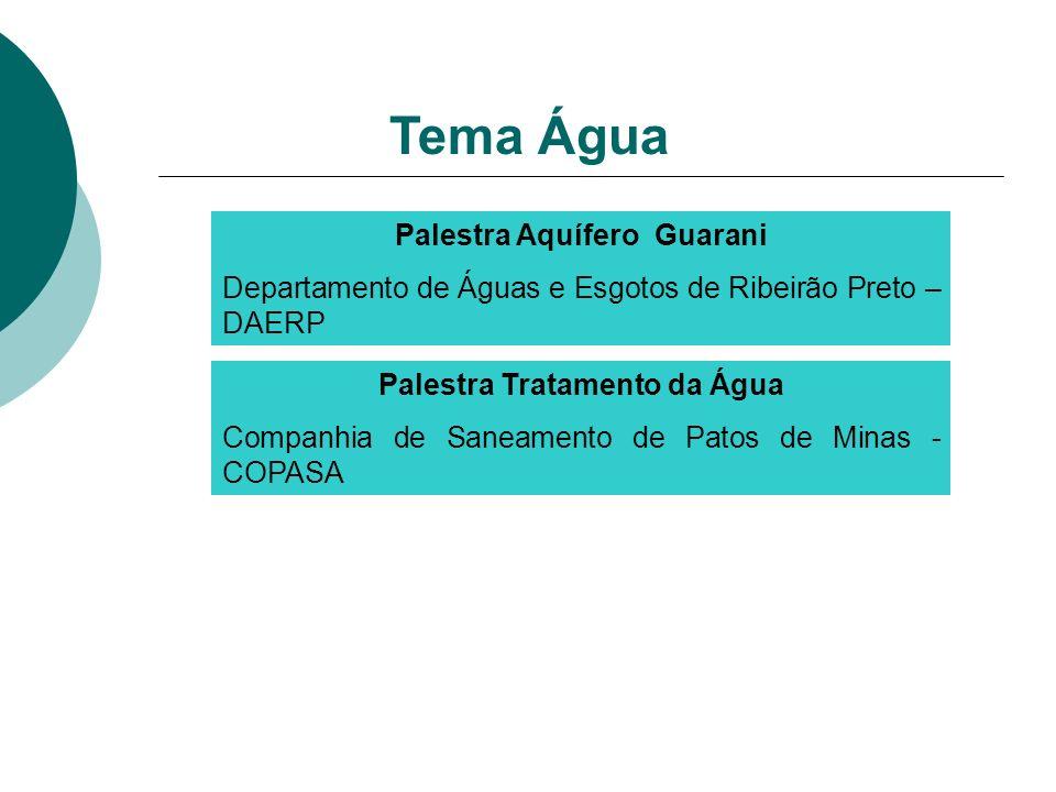 Palestra Aquífero Guarani Departamento de Águas e Esgotos de Ribeirão Preto – DAERP Tema Água Palestra Tratamento da Água Companhia de Saneamento de P