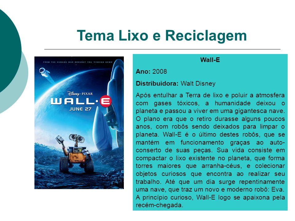 Wall-E Ano: 2008 Distribuidora: Walt Disney Após entulhar a Terra de lixo e poluir a atmosfera com gases tóxicos, a humanidade deixou o planeta e pass