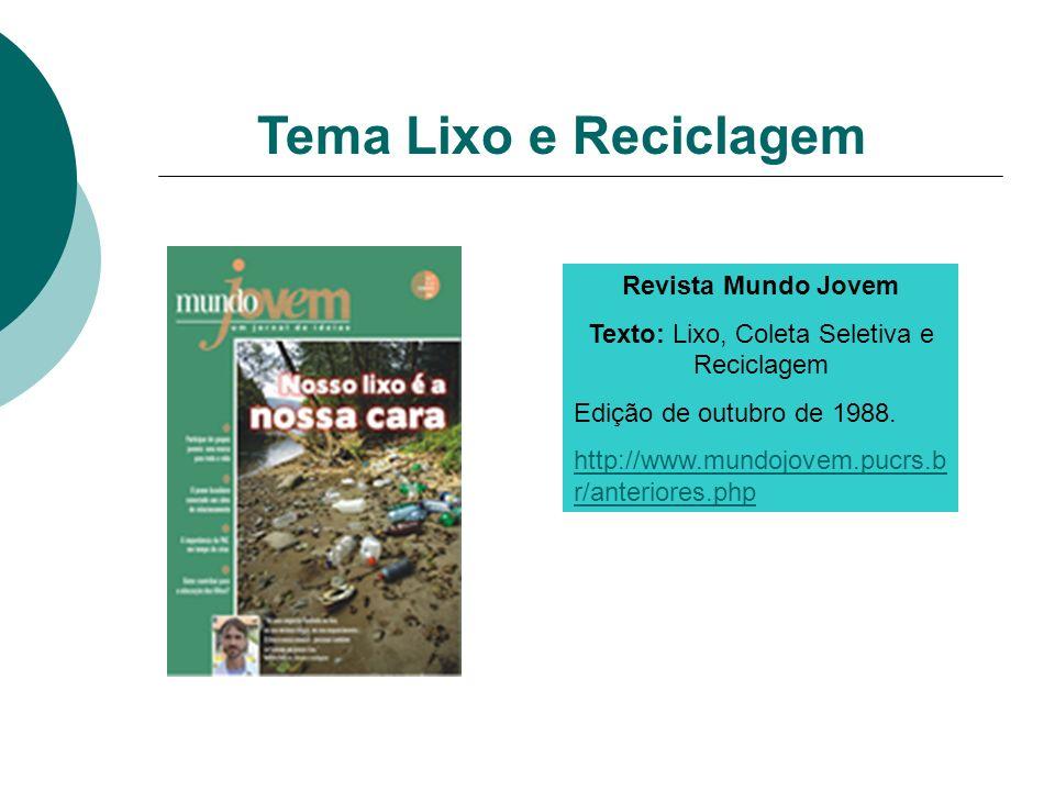 Tema Lixo e Reciclagem Revista Mundo Jovem Texto: Lixo, Coleta Seletiva e Reciclagem Edição de outubro de 1988. http://www.mundojovem.pucrs.b r/anteri