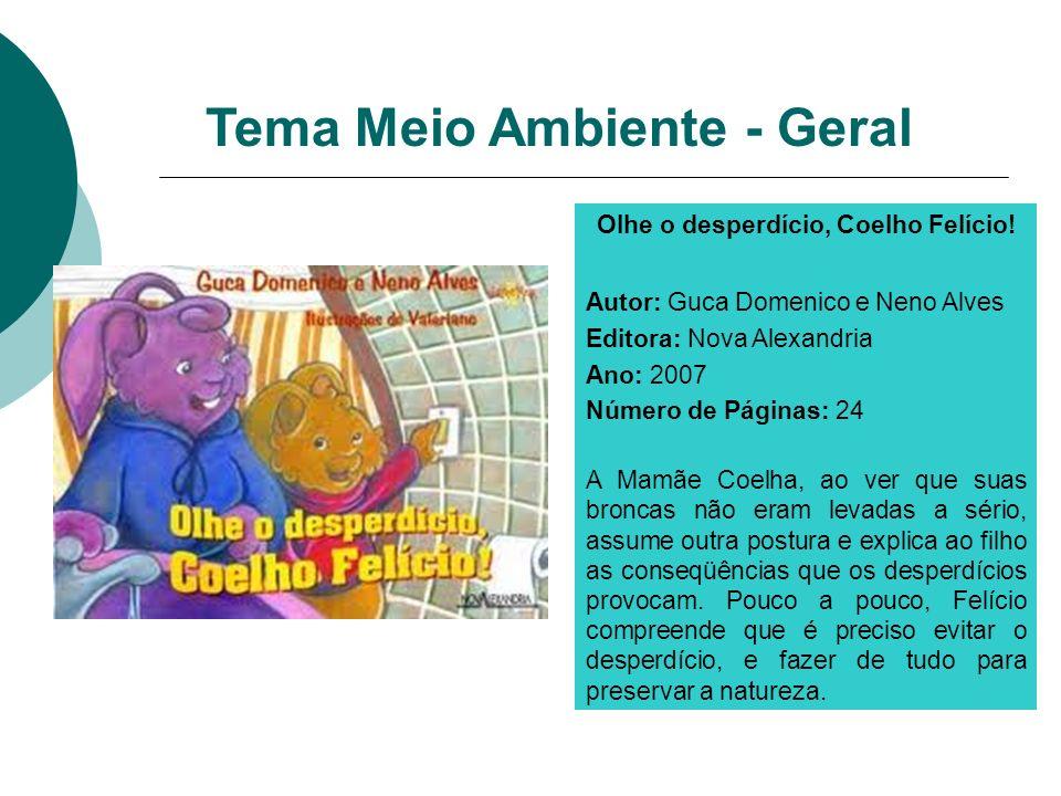Olhe o desperdício, Coelho Felício! Autor: Guca Domenico e Neno Alves Editora: Nova Alexandria Ano: 2007 Número de Páginas: 24 A Mamãe Coelha, ao ver