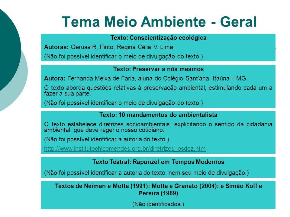 Texto: Conscientização ecológica Autoras: Gerusa R. Pinto; Regina Célia V. Lima. (Não foi possível identificar o meio de divulgação do texto.) Texto: