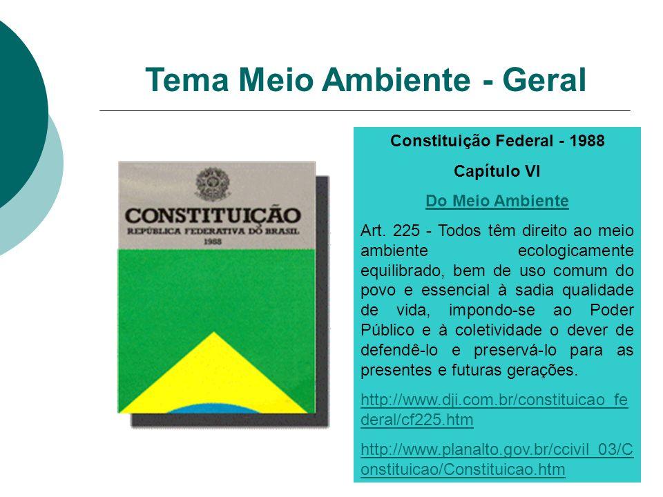 Constituição Federal - 1988 Capítulo VI Do Meio Ambiente Art. 225 - Todos têm direito ao meio ambiente ecologicamente equilibrado, bem de uso comum do