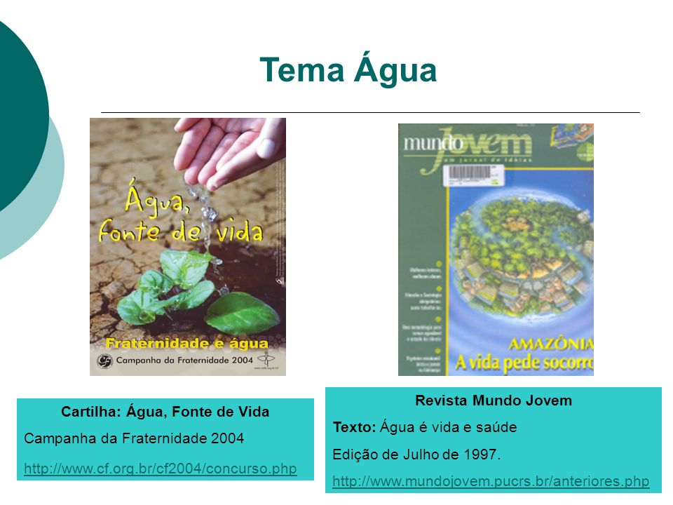 Cartilha: Água, Fonte de Vida Campanha da Fraternidade 2004 http://www.cf.org.br/cf2004/concurso.php Tema Água Revista Mundo Jovem Texto: Água é vida