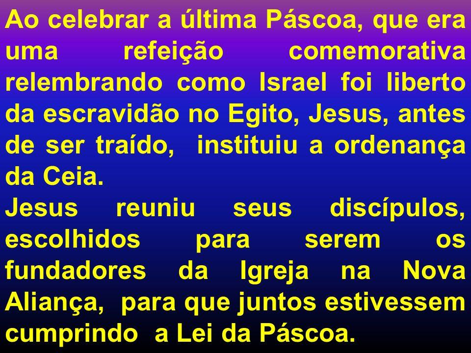 Ao celebrar a última Páscoa, que era uma refeição comemorativa relembrando como Israel foi liberto da escravidão no Egito, Jesus, antes de ser traído,