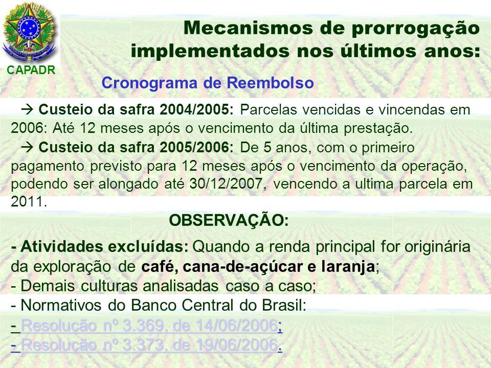 CAPADR - Resolução nº 3.369, de 14/06/2006; - Resolução nº 3.373, de 19/06/2006.