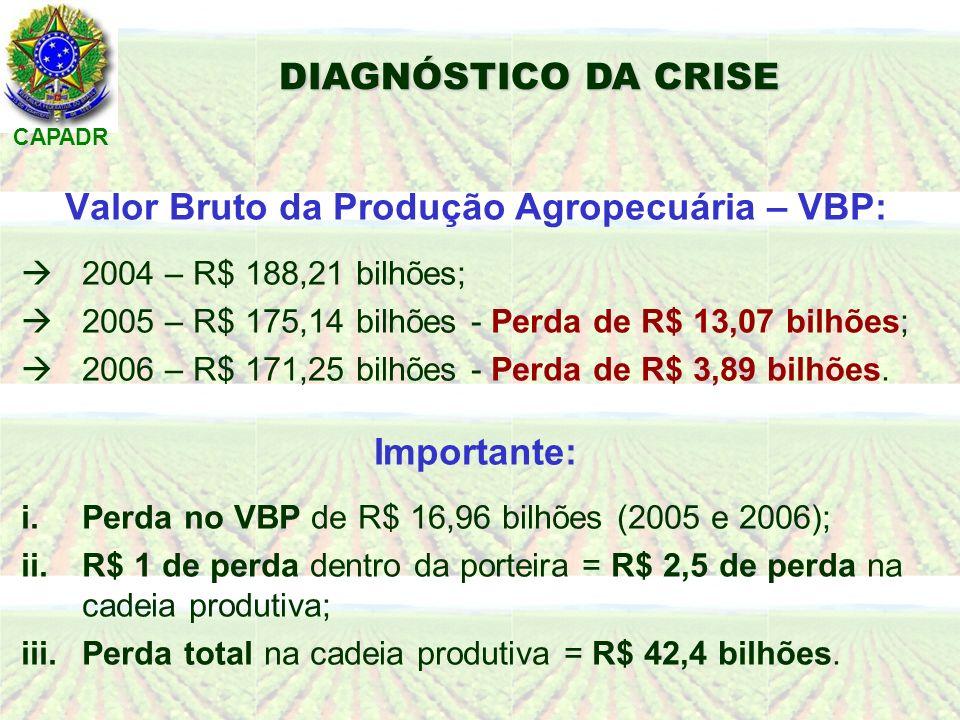 CAPADR Valor Bruto da Produção Agropecuária – VBP: 2004 – R$ 188,21 bilhões; 2005 – R$ 175,14 bilhões - Perda de R$ 13,07 bilhões; 2006 – R$ 171,25 bilhões - Perda de R$ 3,89 bilhões.