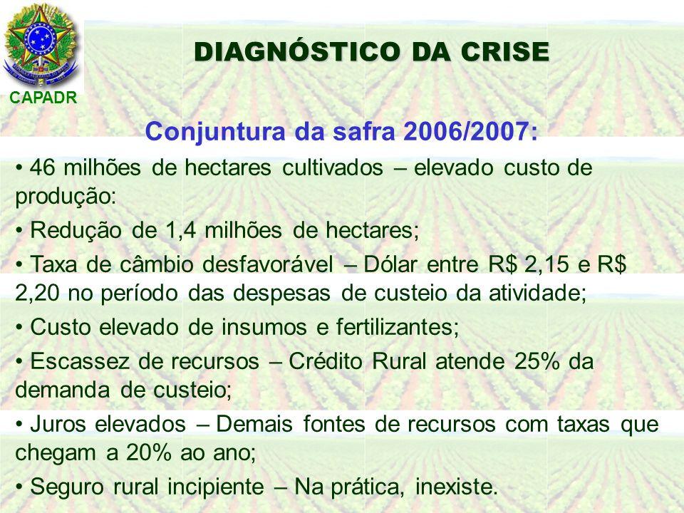 CAPADR DIAGNÓSTICO DA CRISE Conjuntura da safra 2006/2007: 46 milhões de hectares cultivados – elevado custo de produção: Redução de 1,4 milhões de hectares; Taxa de câmbio desfavorável – Dólar entre R$ 2,15 e R$ 2,20 no período das despesas de custeio da atividade; Custo elevado de insumos e fertilizantes; Escassez de recursos – Crédito Rural atende 25% da demanda de custeio; Juros elevados – Demais fontes de recursos com taxas que chegam a 20% ao ano; Seguro rural incipiente – Na prática, inexiste.