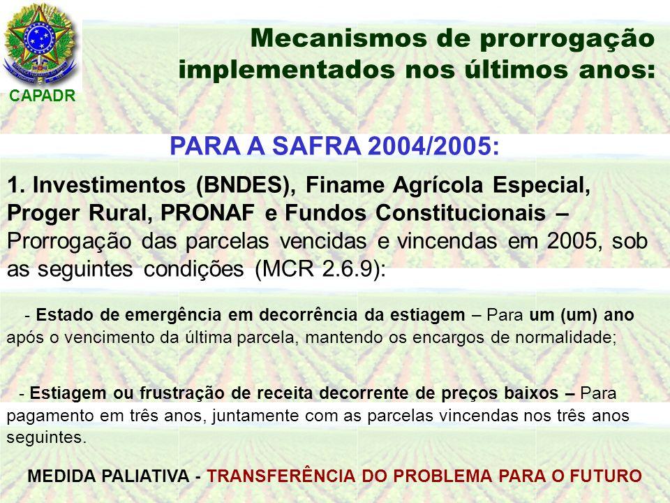 CAPADR Mecanismos de prorrogação implementados nos últimos anos: PARA A SAFRA 2004/2005: 1.