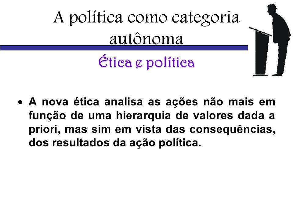 A política como categoria autônoma Ética e política A nova ética analisa as ações não mais em função de uma hierarquia de valores dada a priori, mas s