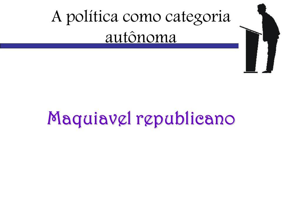 A política como categoria autônoma Maquiavel republicano