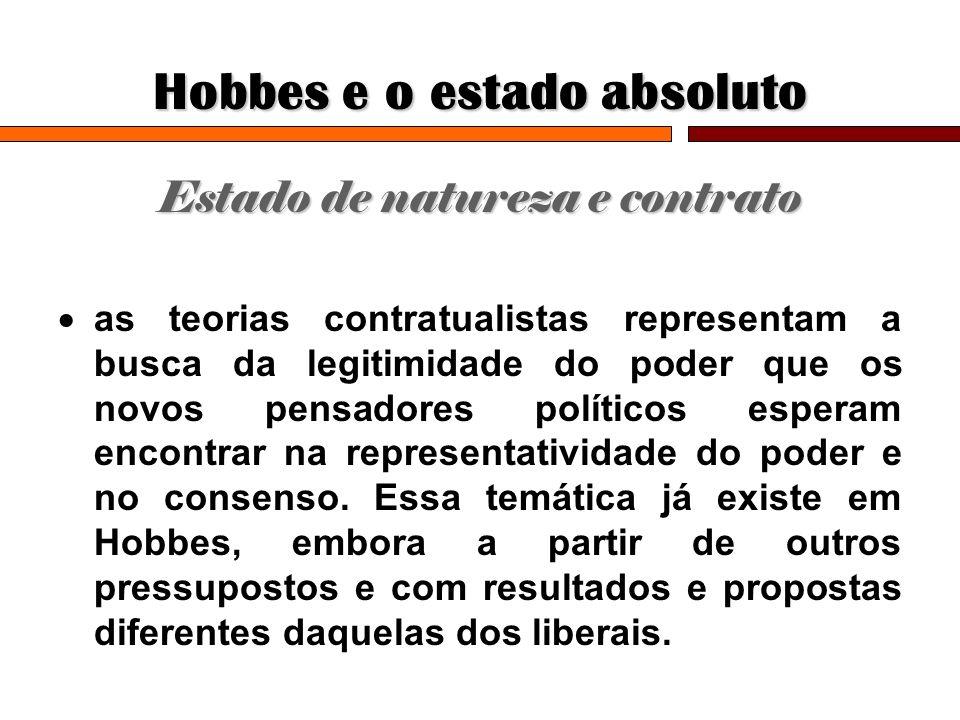 Hobbes e o estado absoluto Estado de natureza e contrato as teorias contratualistas representam a busca da legitimidade do poder que os novos pensador