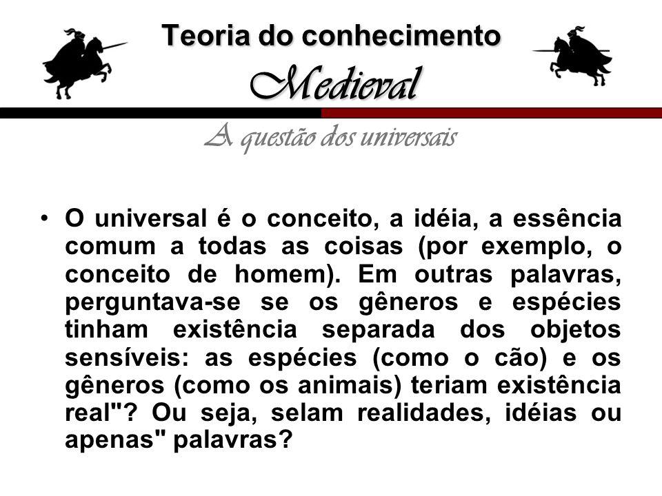 Teoria do conhecimento Medieval A questão dos universais O universal é o conceito, a idéia, a essência comum a todas as coisas (por exemplo, o conceit
