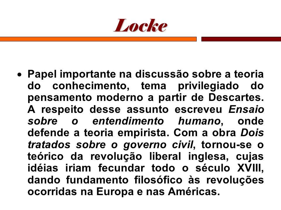 Locke Papel importante na discussão sobre a teoria do conhecimento, tema privilegiado do pensamento moderno a partir de Descartes. A respeito desse as