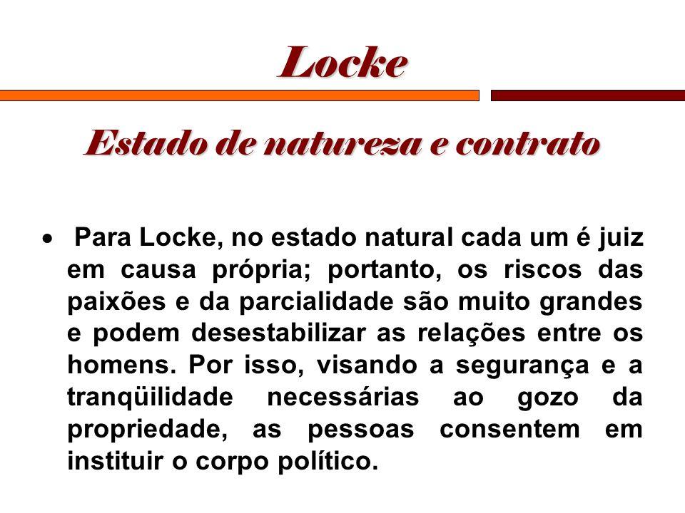 Locke Estado de natureza e contrato Para Locke, no estado natural cada um é juiz em causa própria; portanto, os riscos das paixões e da parcialidade s