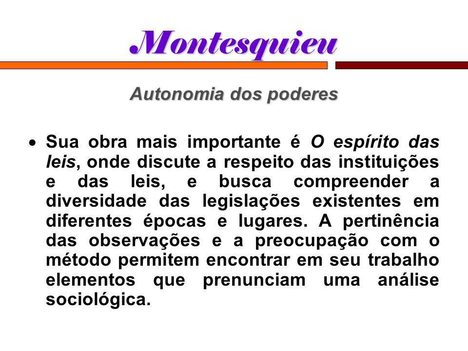 Montesquieu Autonomia dos poderes Sua obra mais importante é O espírito das leis, onde discute a respeito das instituições e das leis, e busca compree