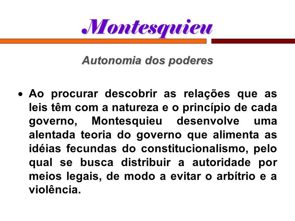 Montesquieu Autonomia dos poderes Ao procurar descobrir as relações que as leis têm com a natureza e o princípio de cada governo, Montesquieu desenvol