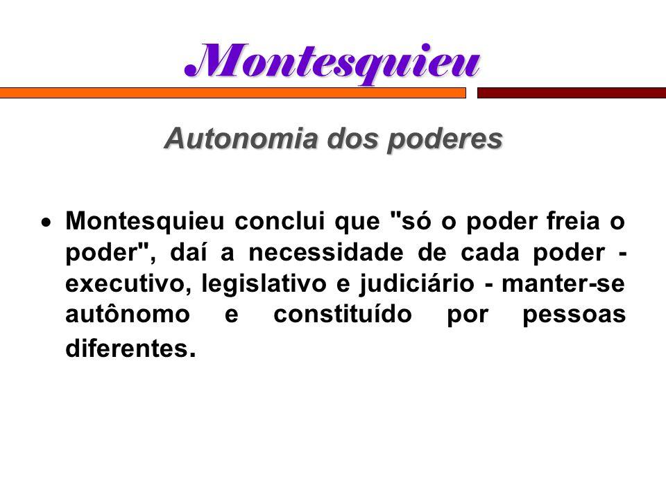 Montesquieu Autonomia dos poderes Montesquieu conclui que