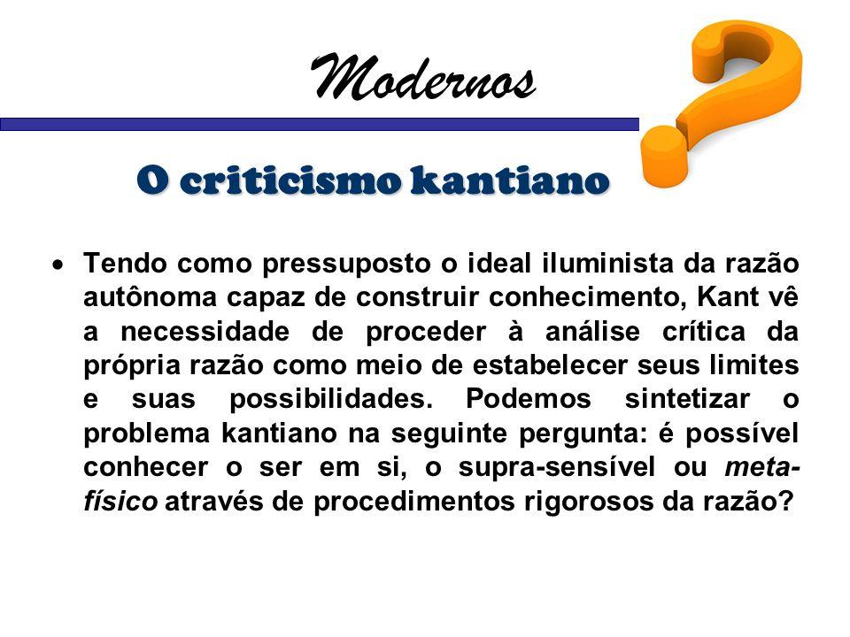 Modernos O criticismo kantiano Tendo como pressuposto o ideal iluminista da razão autônoma capaz de construir conhecimento, Kant vê a necessidade de p