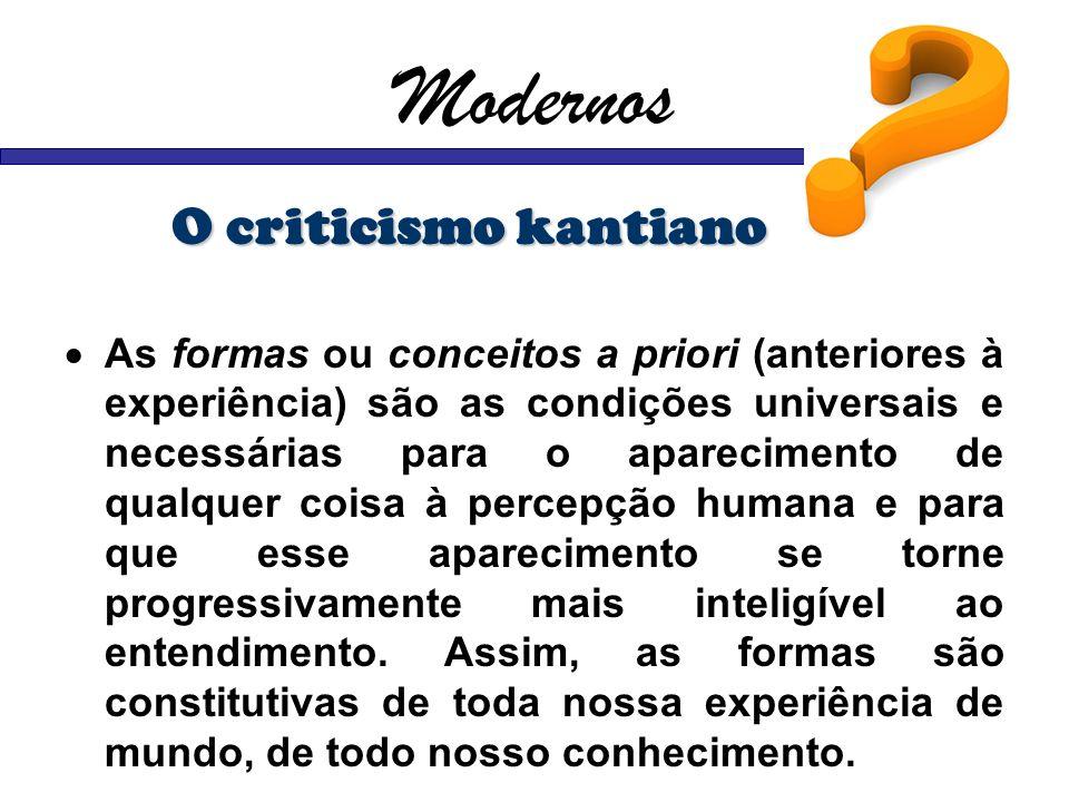 Modernos O criticismo kantiano As formas ou conceitos a priori (anteriores à experiência) são as condições universais e necessárias para o apareciment