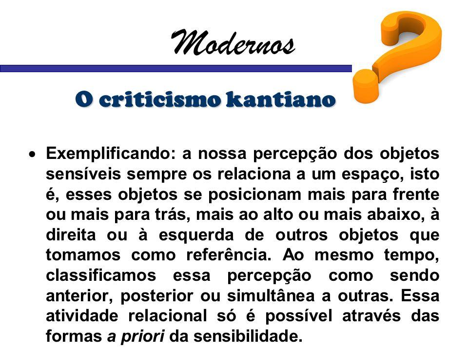 Modernos O criticismo kantiano Exemplificando: a nossa percepção dos objetos sensíveis sempre os relaciona a um espaço, isto é, esses objetos se posic
