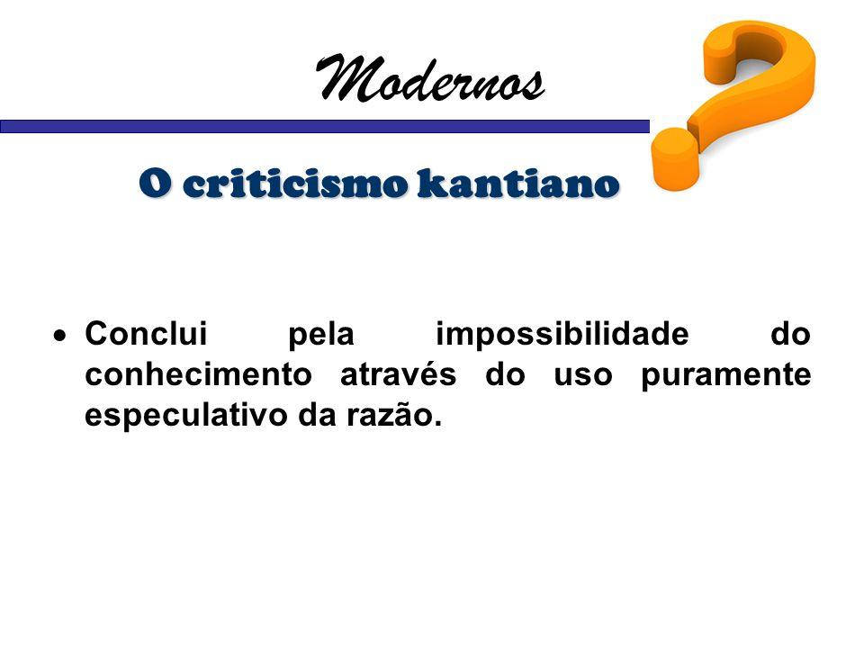 Modernos O criticismo kantiano Conclui pela impossibilidade do conhecimento através do uso puramente especulativo da razão.