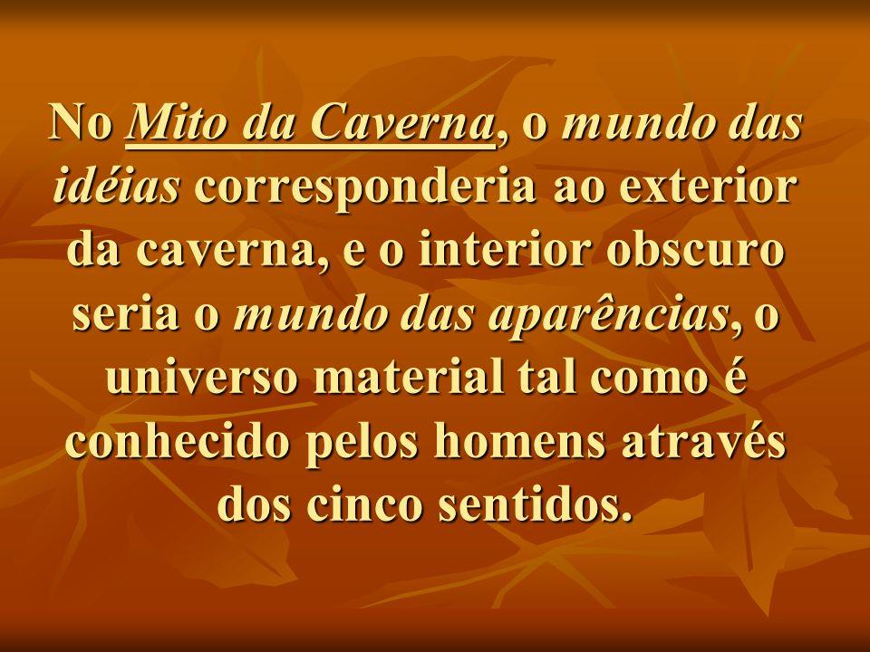 No Mito da Caverna, o mundo das idéias corresponderia ao exterior da caverna, e o interior obscuro seria o mundo das aparências, o universo material t