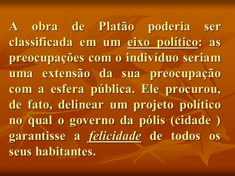 A obra de Platão poderia ser classificada em um eixo político: as preocupações com o indivíduo seriam uma extensão da sua preocupação com a esfera púb